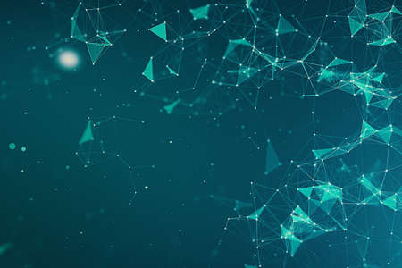 abstract 3d rendering technology plexus blue dynamic digital surface on blue and green gradient background, geometrical shape with blue lines particles futuristic background