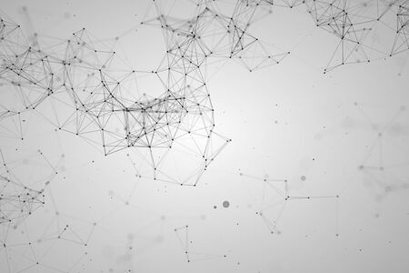 abstract black geometrical plexus on white grey gradient background with lines and dots