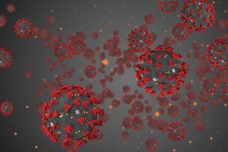 3D-Rendering, Coronavirus-Zellen Covid-19-Influenza, die auf grauem Hintergrund als gefährliche Grippestammfälle fließen, als pandemisches medizinisches Gesundheitsrisikokonzept des Risikos von Krankheitszellen