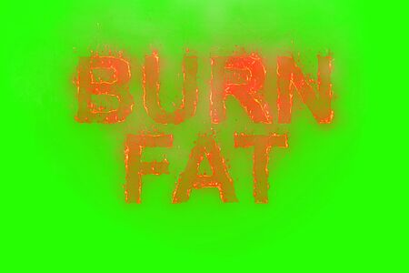 burn fat written with flames rising on a chroma key green screen background