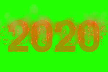 written 2020 in word with flames rising on chroma key green screen background, concept concept happy new year celebration and happy event