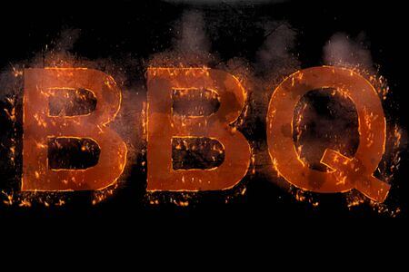 written bbq in word with rising flames on black background, concept of nutrition, diet and typical American cuisine