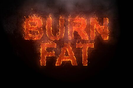 burn fat written with flames rising on a black background Banco de Imagens