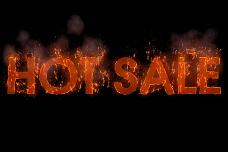 written hot sale in word with flames rising on a black background, multipurpose concept