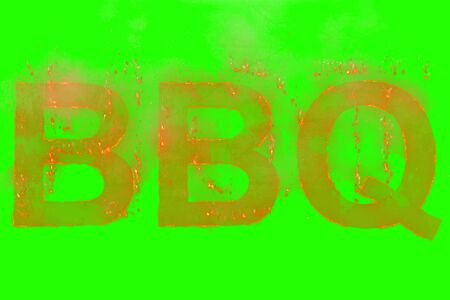 written bbq in word with rising flames on chroma key green screen background, concept of nutrition, diet and typical American cuisine