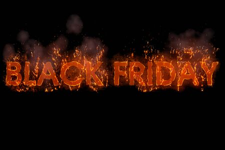 written black friday in word with flames rising on a black screen background, concept of big discounts for online and in-store purchase, great offers Banco de Imagens