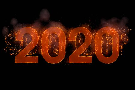 written 2020 in word with flames rising on black background, concept concept happy new year celebration and happy event Banco de Imagens