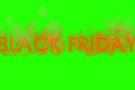 written black friday in word with flames rising on a chroma key green screen background, concept of big discounts for online and in-store purchase, great offers Banco de Imagens