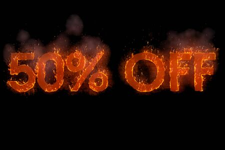 written 50% off in word with flames rising on black screen background, concept of big discount for online and in-store purchases, black friday