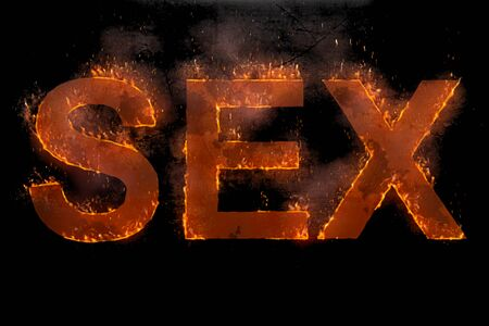 written sex word with flames rising against black background, lust concept Banco de Imagens
