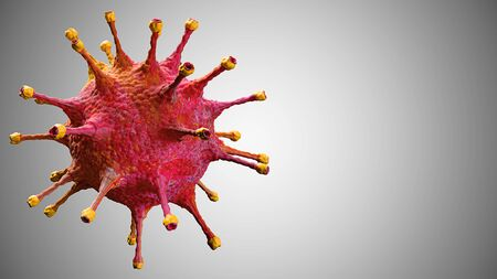 3D rendering, red coronavirus cells covid-19 influenza flowing on grey gradient background as dangerous flu strain cases as a pandemic medical health risk concept of disease cells risk, with space for text