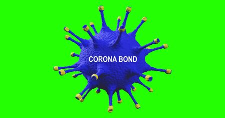 3D rendering, coronabond blue and yellow coronavirus cells covid-19 influenza with color of europe euro flag, concept of corona bond crisis for economy finance business europe for pandemic health risk recession on chroma key green screen bakcground