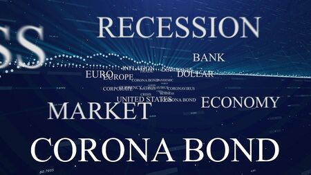 coronabond coronavirus cells covid-19 influenza with color of europe euro, concept of corona bond crisis for economy finance business europe for pandemic health risk recession on blue financial economy chart background Banco de Imagens