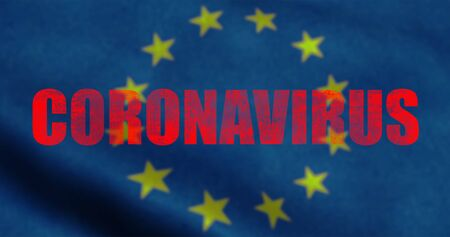 red word coronavirus on europe flag background, euro coronavirus cells covid-19 influenza as dangerous flu strain cases as a pandemic medical health risk of united states of europe concept of disease cells risk
