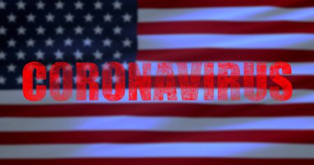 red word coronavirus on usa flag background, coronavirus cells covid-19 influenza as dangerous flu strain cases as a pandemic medical health risk of united states of america concept of disease cells risk