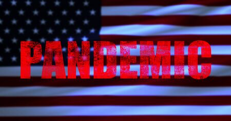 red word pandemic on usa flag background, coronavirus cells covid-19 influenza as dangerous flu strain cases as a pandemic medical health risk of united states of america concept of disease cells risk