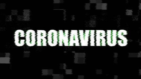 glitch word coronavirus on distort glitch background, coronavirus cells covid-19 influenza as dangerous flu strain cases as a pandemic medical health risk in the world concept of disease cells risk Banco de Imagens