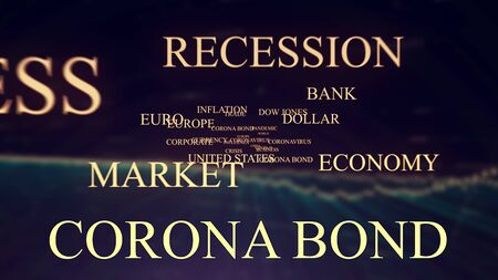 coronabond coronavirus cells covid-19 influenza with color of europe euro, concept of corona bond crisis for economy finance business europe for pandemic health risk recession on multi-color gradient financial economy chart background