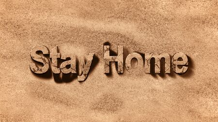 stay home animation of text on gold sand background of contagion message for pandemic coronavirus concept, covid-19 influenza disease and virus spread