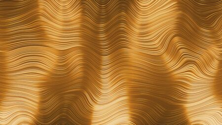 abstract gold metallic fabric geometric shape golden waving background Banco de Imagens
