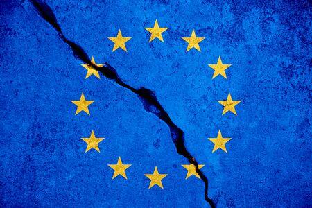 coronavirus, blue european union EU flag on broken wall, virus crisis europe euro of coronavirus covid-19 decision loan concept