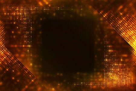 frame of christmas digital glitter sparks golden particles vertical strips flowing on black background, holiday event festive Banco de Imagens