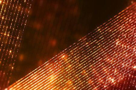 frame of christmas digital glitter sparks golden particles oblique strips flowing on black background, holiday event festive Banco de Imagens