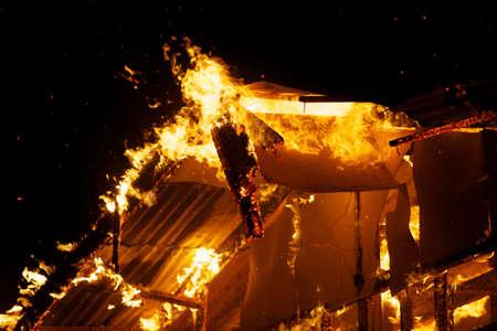 Huisbrand in het warme weer. Stockfoto