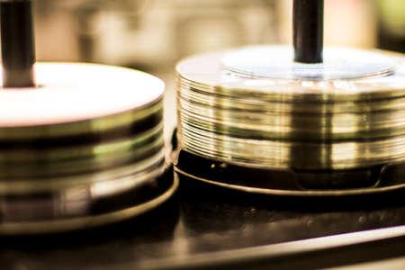 DVD CD discs stacked 免版税图像 - 26033602