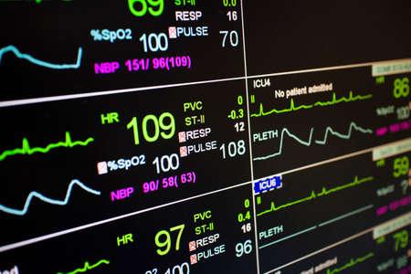 Patient monitor icu pulse Stock Photo