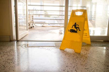 Beware of wet floor signs Stock Photo