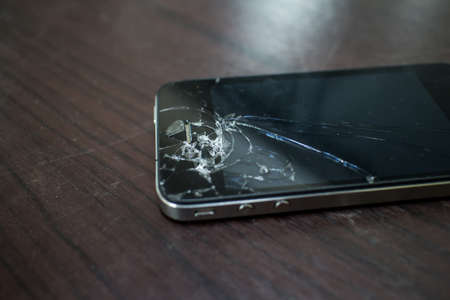 Cracked screen mobile Stock Photo