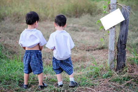 pee: Children relieving themselves at the side of a field