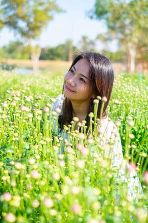 High mountain grass flower woman