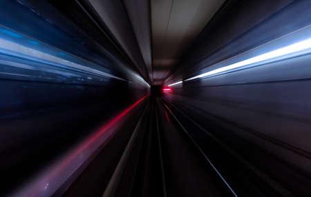 Subway tunnel motion speed rail