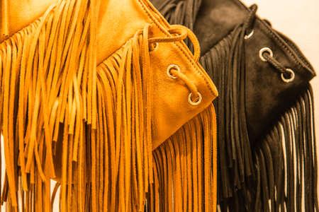 modern style leather bag tassel background Banco de Imagens