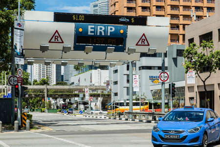 SINGAPORE-JUN 3 2017: Singapore ERP system on street at downtown