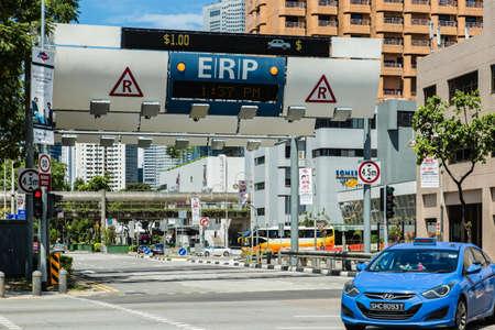 SINGAPOUR-3 JUIN 2017 : Système ERP de Singapour sur rue au centre-ville