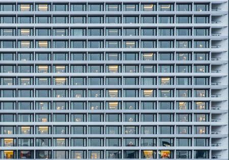 glass facade building facade night scene