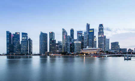 SINGAPORE-JUN 07 2017:Singapore Marina bay city core area skyline