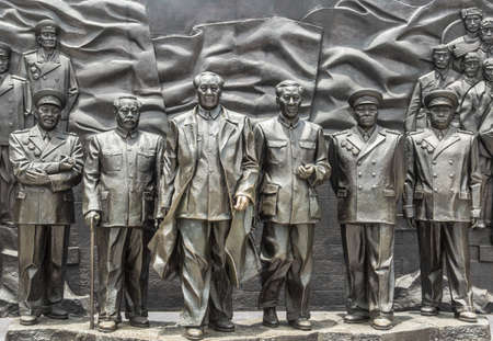CHINA HUNAN CHANGSHA city - JUL 8 2017: a group of Chinese leader sculpture in garden