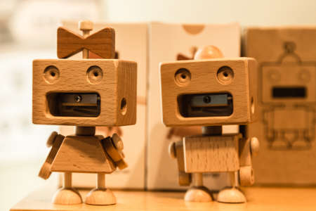 cute wood robot couple sharper display set