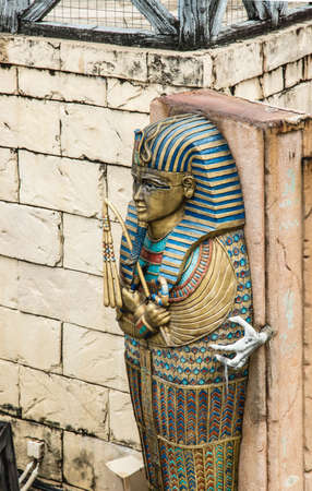 Singapore-26 SEP 2017: old style colorful Pharaoh coffin display on the wall Editorial