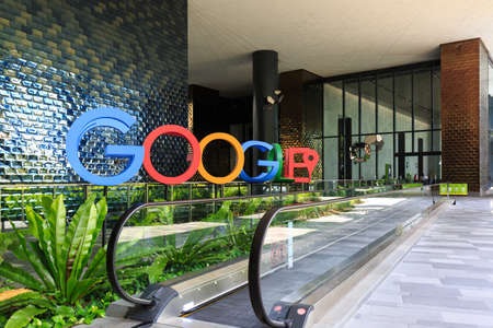 Singapore - 28 DEC 2018: A photograph of the Google logo in the lobby of Google's new campus and office in Singapore, which is regional HQ.