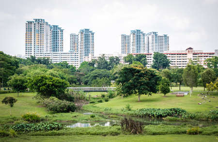 Singapore neighborhood park view, surrounding the park is residential building