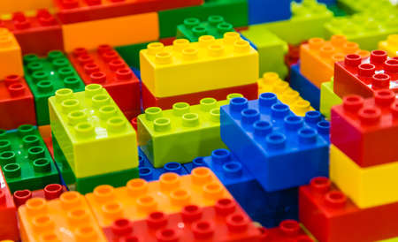 Singapore-26 SEP 2017: colorful Lego brick toy background closeup view