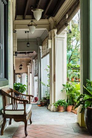 Singapore vintage shop house walk corridor view Stock fotó