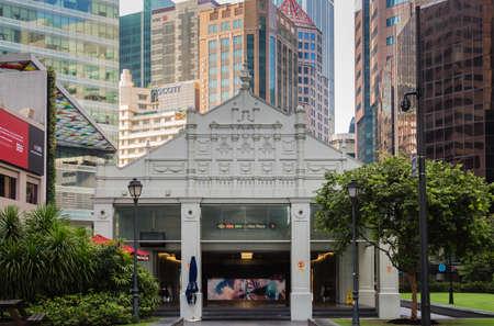 Singapore-18 NOV 2017: Raffles place subway entrance building in Singapore CBD