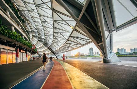 Singapore-14 JUN 2018:The female runner in running is Singapore new stadium