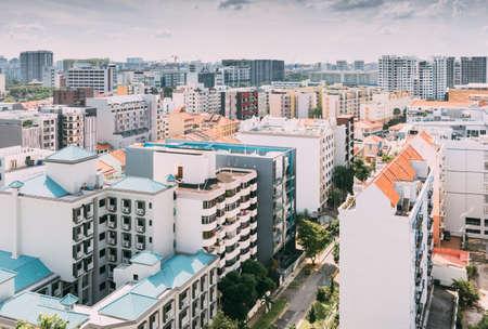 Singapur-16 de junio de 2018: Vista aérea del edificio residencial de la zona de Singapur Geylang